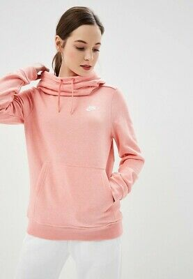 NWT Nike Women's Funnel Neck Pullover Hoodie 853928 655 Light PINK XSMALL | eBay