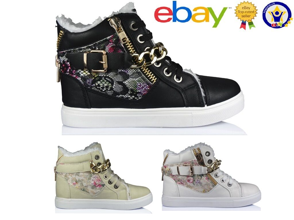 NEW WOMENS GIRLS FLAT LACE UP SPORTS HI TOP FUR BOOTS FLORAL TRAINERS SHOES SIZE