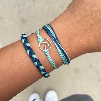 db229f1255b17 3pcs/Set Rope Braided Friendship Bracelets Wave Unisex Charm Adjustable  Bracelet | eBay