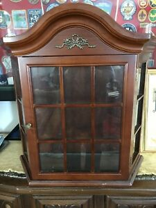Details About Bombay Company Glass Curio Cabinet Vintage Wall Mount Shelf  Display
