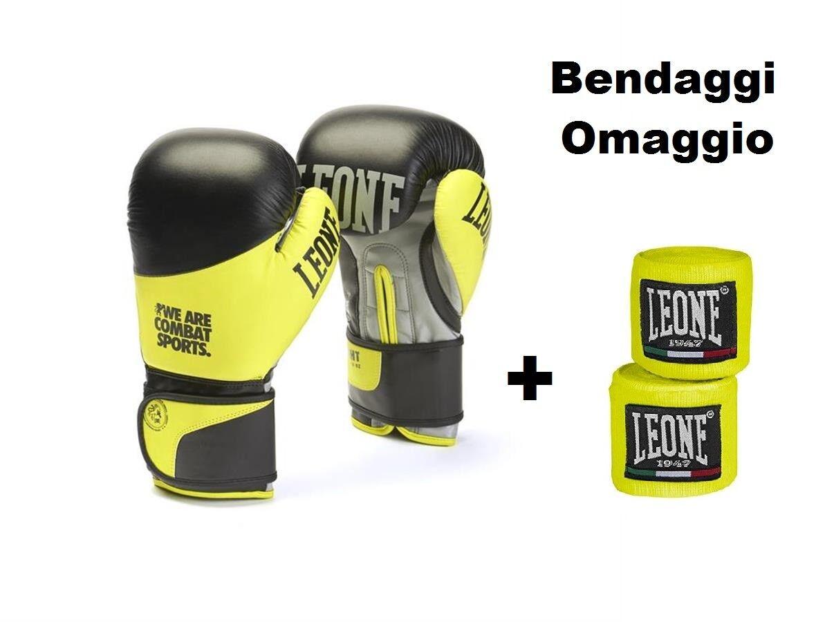 GUANTONI DA scatolaE LEONE 16oz  FIGHT GN052 PELLE scatolaE KICK THAY  FASCE OMAGGIO