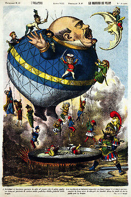 1877 Aerial Voyages Hot Air Balloon Rides Vintage Style Advertising Poster 16x24