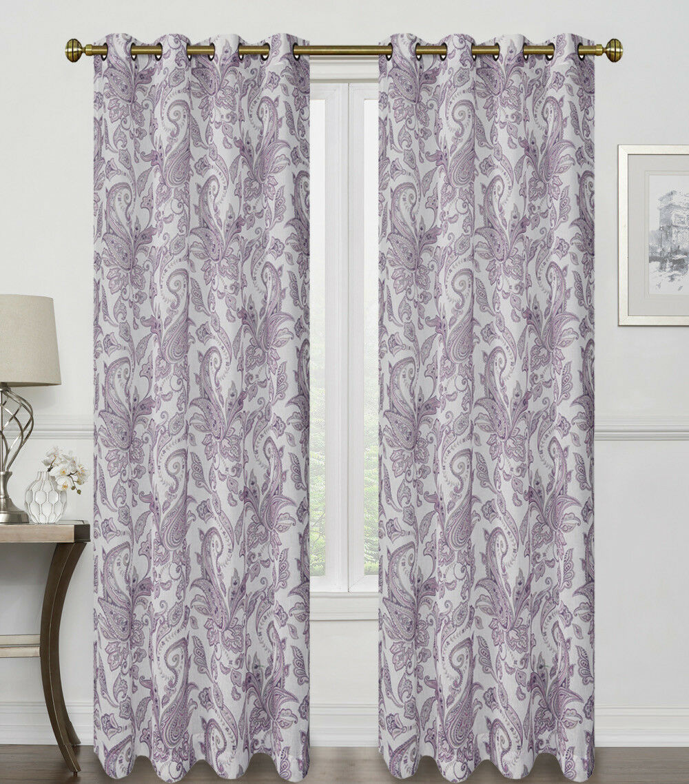 2 Pack: Regal Home Semi Sheer Grommet Top Paisley Curtains - Assorted Colors