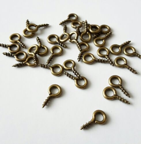 200 eye hooks screw in for jewellery making charms 8mm x 4mm antique gold