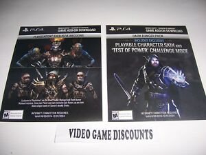Details about 2 DLC CODES Middle Earth Shadow of Mordor PlayStation 4 PS4  VALID & NOT EXPIRED