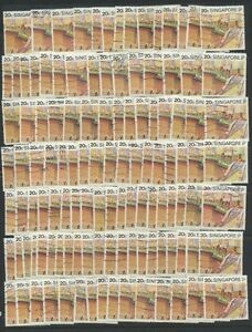 Singapore-1990-City-Scene-Bridge-Fine-Used-LOT-of-100-Stamps-569-25-00-Value