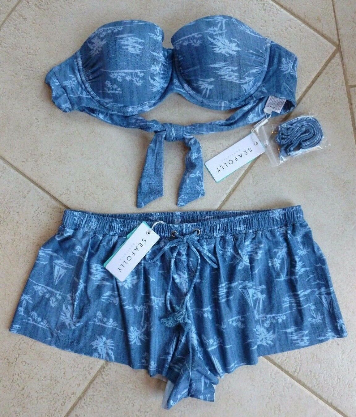 Seafolly Bikini AU 10 Summertime Denim D Cup Bustier Bra & Swim Boardshort