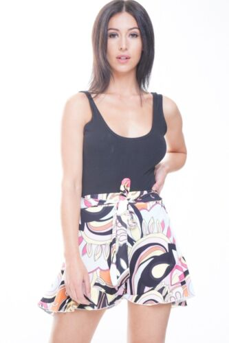 Ladies Hot Shorts Abstract Print Baroque Frill Hem Belted High Waisted Night Out