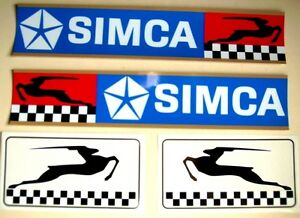4-AUTOCOLLANTS-gt-2-CHALLENGE-SIMCA-37-x-7cm-GAZELLES-SIMCA-gt-Droite-Gauche