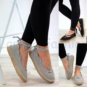 7796d7c1534 Details about New Womens Lace Up Espadrilles Flat Comfy Closed Toe Sandals  Ladies Shoes Sizes