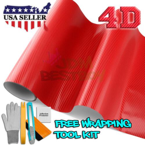 "*60/""x108/"" 4D Gloss Red Carbon Fiber Vinyl Wrap Sticker Bubble Free Air Release"