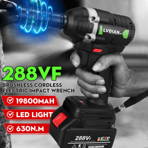 """288VF 630N.m 1//2/"""" Brushless Cordless Impact Wrench w//19800mAH Battery and"""