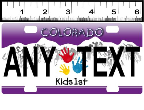 CUSTOM PERSONALIZED ALUM BICYCLE MINI STATE LICENSE PLATE-COLORADO KIDS FIRST