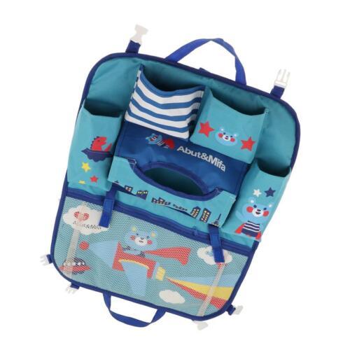 Universal Car Seat Back Organiser Seat Cover Storage Children Kick Mat Blue