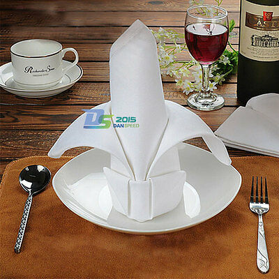 White Premium Wedding Restaurant Dinner Party Cloth Linen Napkins 48cm*48cm