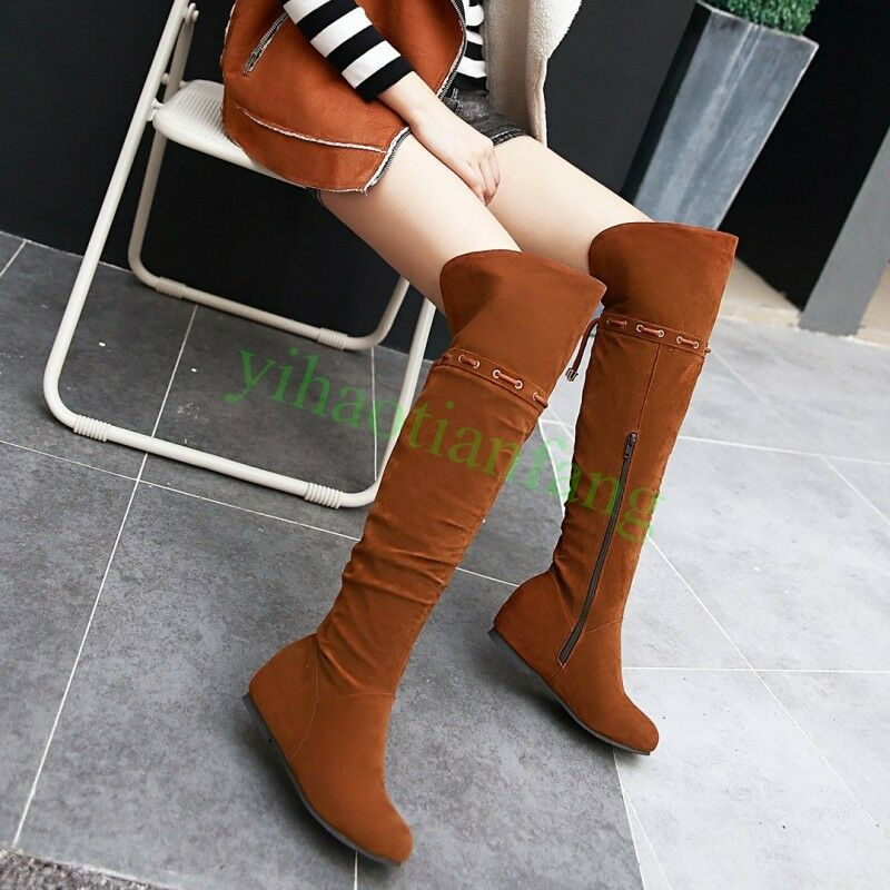 Womens Zip Over knee High Boots Suede Wedge Heel Casual Vintage Thigh shoes HOT