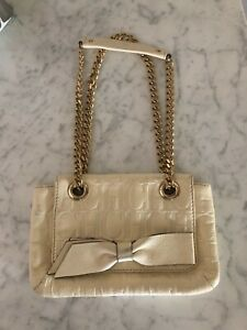 Carolina Herrera Cream Monogram Leather Audrey Small Shoulder Bag W Bow Ebay