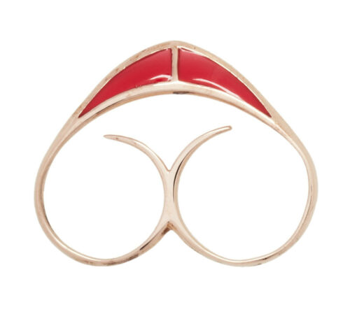 Katie Rowland Unique Heart Knuckle Double Ring Red Gold Plated Sterling Silver S