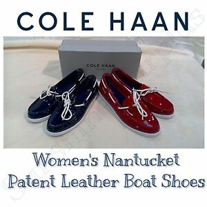 New-COLE-HAAN-Women-039-s-Nantucket-Patent-Leather-Boat-Shoes-Red-or-Navy-VARIETY