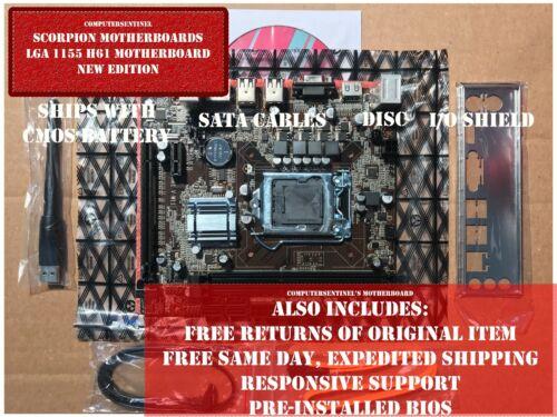 OC NEW Intel LGA 1155 H61 Motherboard 16GB DDR3 mATX HDMI WiFi
