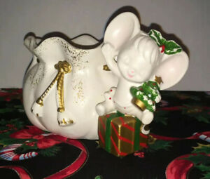 Vintage 1950s Christmas Napco 9599 Mouse Ceramic Planter Candy Cane Holder Japan