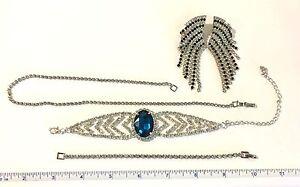 Lot-VINTAGE-Rhinestone-Crystal-Necklaces-Bracelet-Earrings-COSTUME-JEWELRY-JVJ40