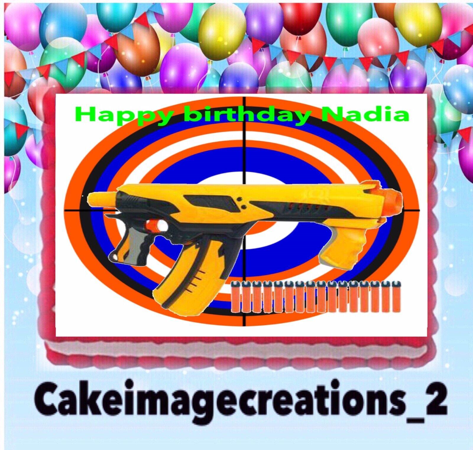 Brilliant Nerf Gun Birthday Party Edible Target Cake Topper Image 1 4 Personalised Birthday Cards Beptaeletsinfo
