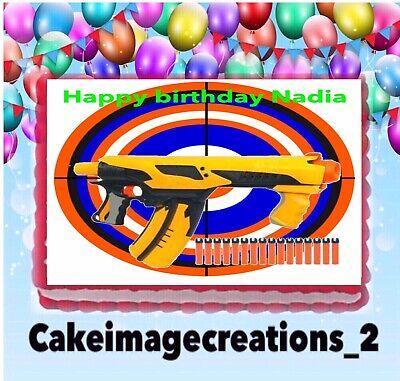 Nerf Gun Birthday Party Edible Target Cake Topper Image 1 4 Frosting Sheet