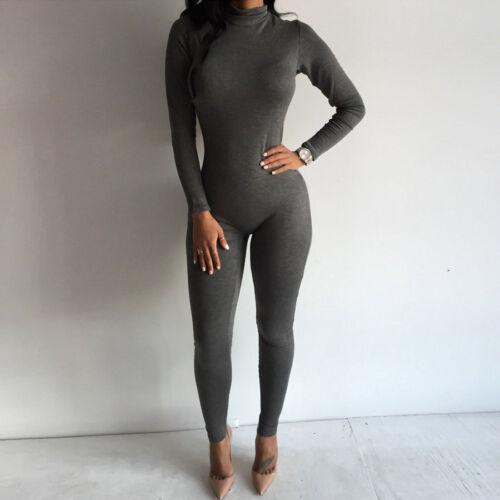 Le donne manica lunga Bodycon Yoga Palestra Romper Tuta Body Pantaloni Lunghi Pantaloni
