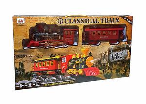 Eisenbahn Set Train Lok Dampflok Lokomotive Zug Waggons Schienen mit Licht 18tlg