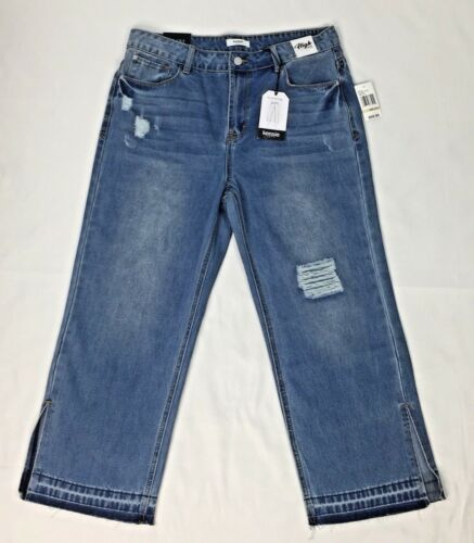 NWTKensie Jeans Relaxed Crop Womens High Rise Distressed Raw Hem Side Slit Jeans