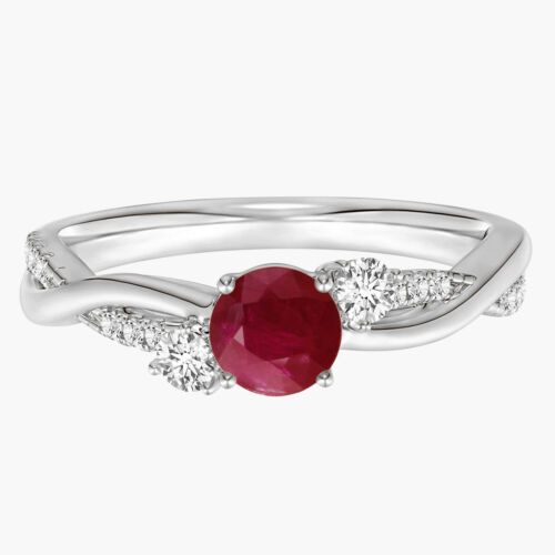 Details about  /0.5 Cts Ruby Twisted Ring With Simulated Diamond In 925 Sterling Silver