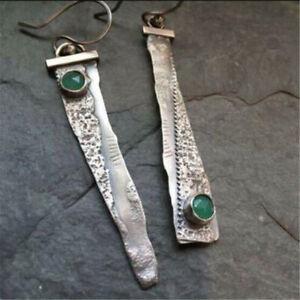 Women-Fashion-Thai-Silver-Emerald-Handmade-Hook-Asymmetry-Dangle-Earrings-Gift
