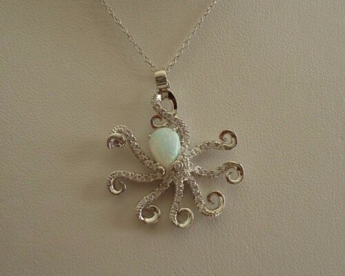 925 STERLING SILVER OCTOPUS NECKLACE PENDANT W// OPAL /& ACCENTS// 18 INCH