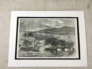 1856 Stampa Fiume Ganges India British Indiano Empire Landscape Antico Originale