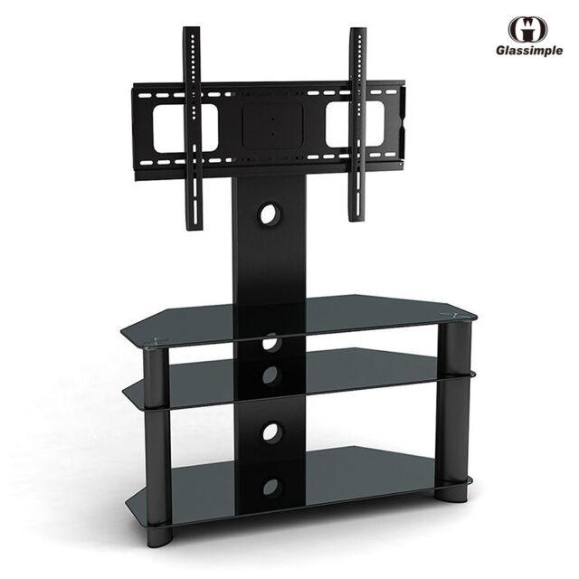 online retailer 788ca 0b314 Black Tempered Glass TV Stand Chrome TV Bracket LCD Plasma LED With Shelves