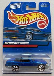 2000-HOTWHEELS-MERCEDES-500-SL-Blu-Vintage-Nuovo-di-zecca-MOC-molto-rara