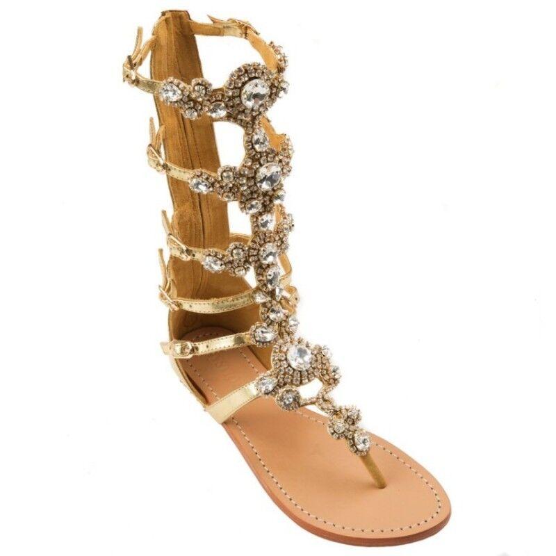 Flip-Flop Mujer Gladiador Gladiador Gladiador Sandalias Rhinestone Bling correa Back Zip Zapatos sin Taco  en linea