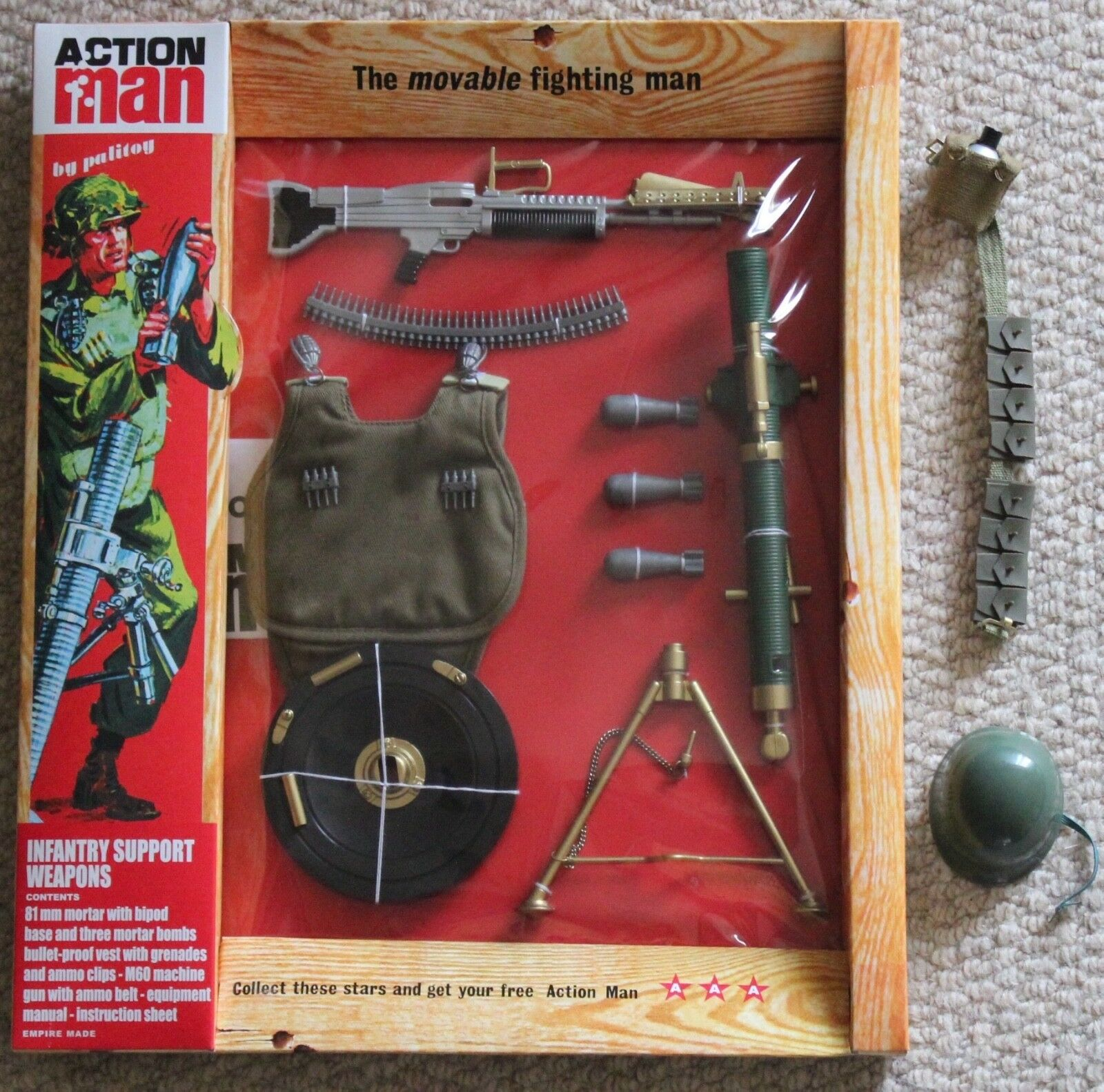 Vintage action man 40th anniversary infantry support card boxed