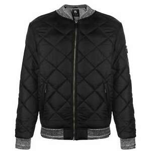 Mens-No-Fear-Quilt-Bomber-Jacket-Midweight-Zip-New