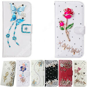 Funda-PARA-ASUS-Girl-039-s-Cute-Bling-Diamante-Cristal-Funda-de-Cuero-tipo-Billetera-Abatible-de