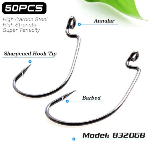 Lot 50pcs High Carbon Steel Worm Hook Jig Big Fishing Hooks Black Treble 6#-5//0#