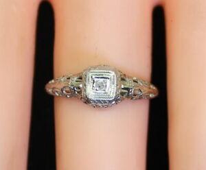14K-Gold-Women-039-s-Intricate-Antique-Filigree-Art-Nouveau-Solitaire-Diamond-Ring