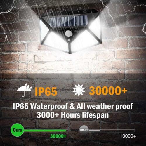100 LED Solar Lamp Power PIR Motion Sensor Wall Lights Outdoor Garden Waterproof
