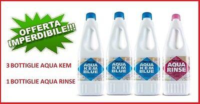 Disgregante Aqua Kem 3 Pezzi Da 1 Litro + 1 Pezzo Aqua Rinse 1,5 L Per Wc Camper