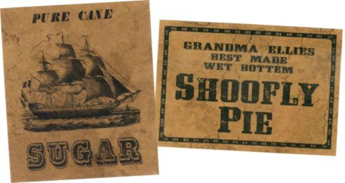 Primitive Pantry Shoofly Pie Jelly Cupboard Farmhouse 26 Labels