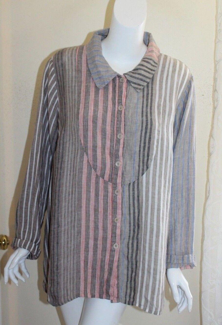 Flax Sz 1G 18 20 Multi Striped Yoked Lagen Peasant Linen Shirt Top Gather Back