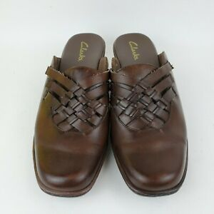 Clarks-Brown-Leather-Mules-Slip-On-Shoes-Woven-Top-Clogs-Womens-Size-9-5-M