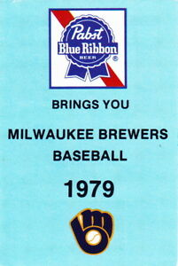 1979 Milwaukee Brewers Pabst Blue Ribbon Baseball Pocket Schedule 112488S