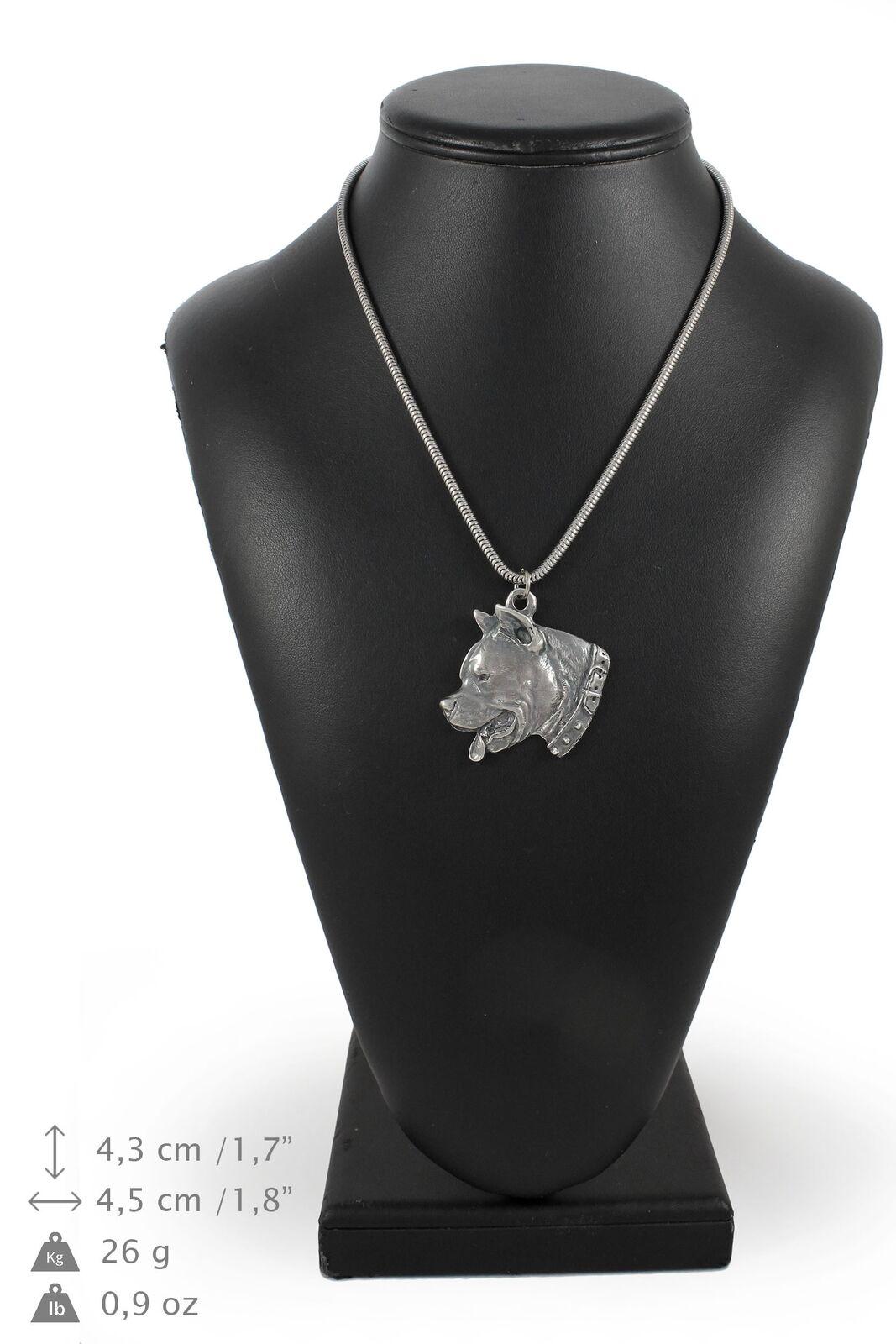 Amstaff type 2 - silver plaqué collier sur une cordon en silver Art Dog FR